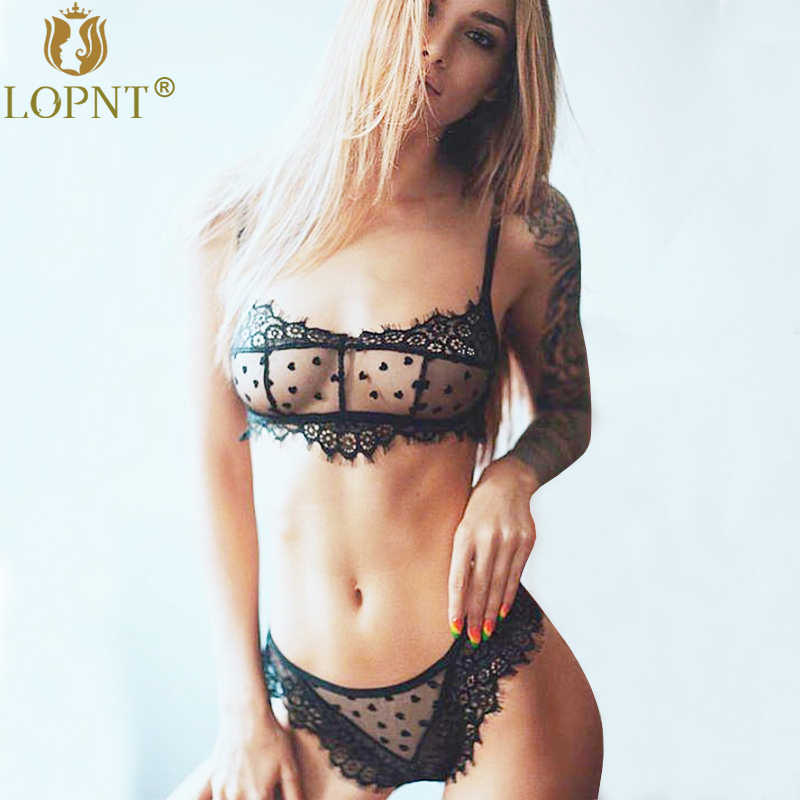 a10a1bd9676 Detail Feedback Questions about LOPNT New sexy bras black floral lace  bralette mesh panties low cut plus size lingerie set perspective push up  brasier mujer ...