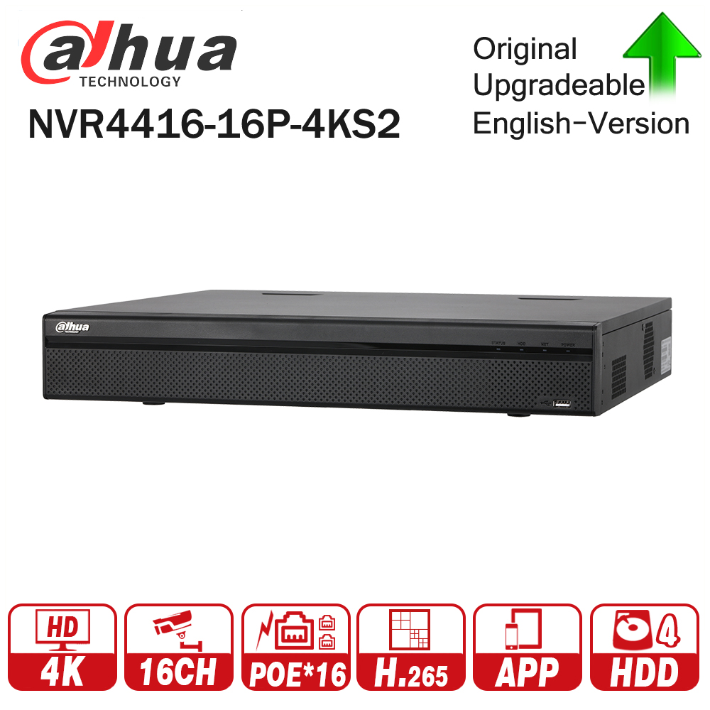 Dahua PoE NVR NVR4416-16P-4KS2 with 16CH PoE Port support Two way Talk Third Party Camera Network Video Recorder 1.5U H.265 NVR dahua network video recoder nvr4208 8p hds2 nvr4216 16p hds2 8 16ch nvr support onvif poe nvr recorder for poe camera