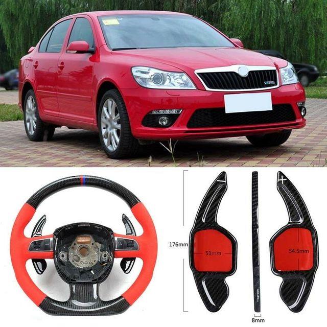$ 103.39 Carbon Fiber Gear DSG Steering Wheel Paddle Shifter Cover Fit For Skoda Octavia RS 2009-2010