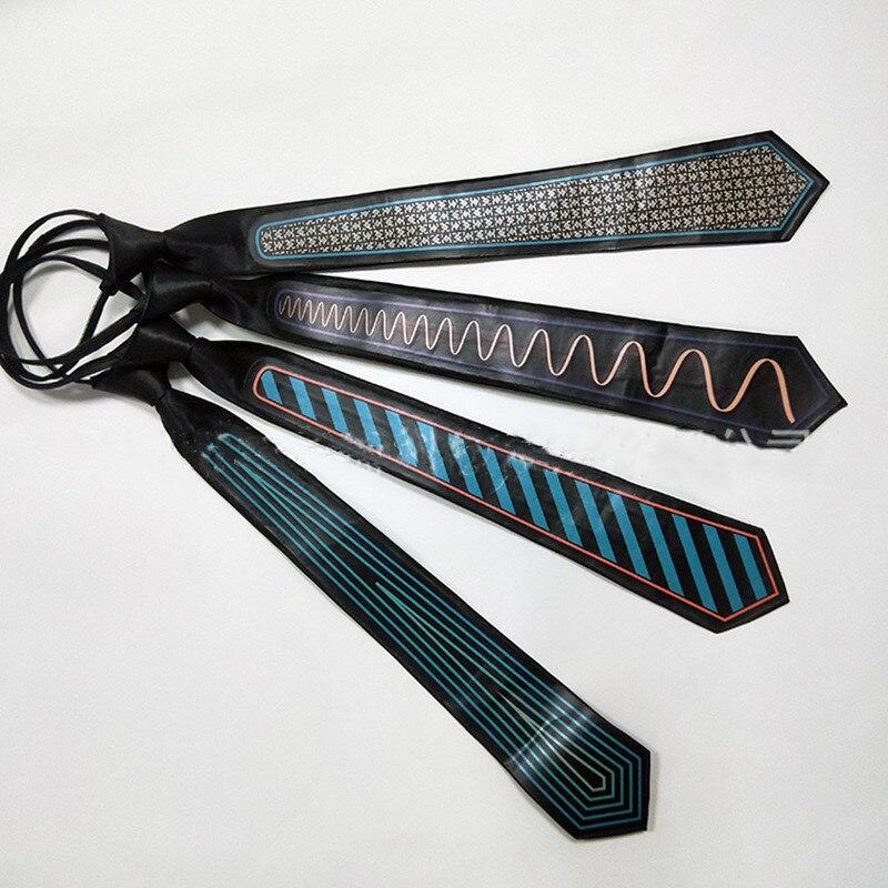Corbata para fiesta LED de neón para hombre, corbata luminosa que brilla en la luz que brilla en la oscuridad, ata EL foco Haloween DJ Bar Club Stage, ropa de utilería