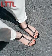 2017 mujeres de la moda T correa sandalias de tacón plano gladiador sexy sandalias de punta abierta zapatos de la celebridad mujeres sandalias cadena causal pisos