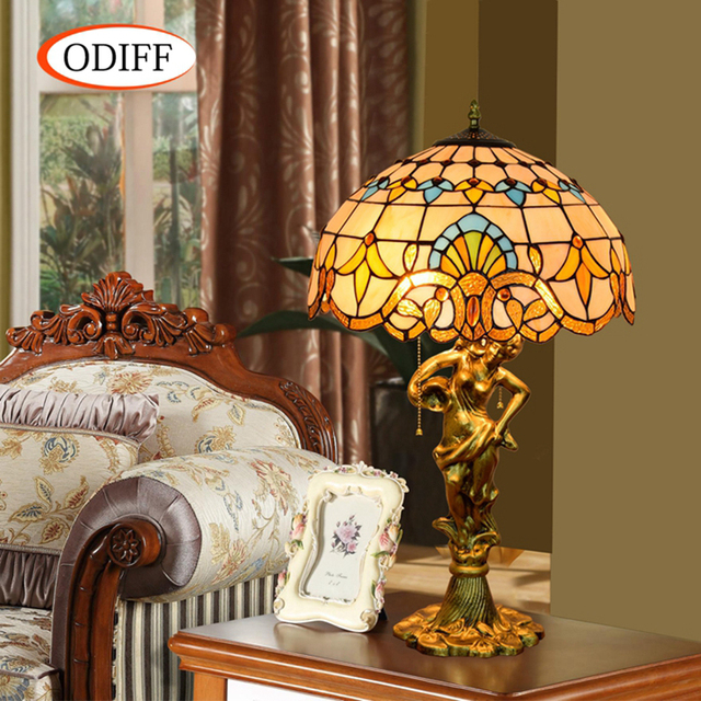 Superieur ODIFF European Baroque Stained Glass Living Room Decorative Table Lamps  Bar, Restaurant, Bedroom, Office Beauty Art Lamp 90 260V