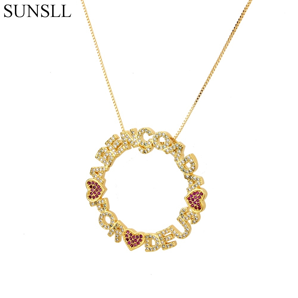 SUNSLL Gold/Silver Color Copper Red Cubic Zirconia Heart And Letters Pendant Necklaces Women's Fashion Jewelry Cobre CZ Colar