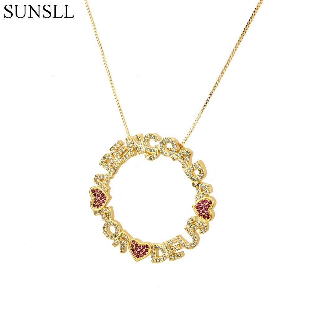 SUNSLL oro/Color plata Cobre rojo corazón Zirconia cúbica y cartas colgante collares joyería de moda de Cobre CZ colar