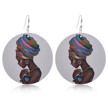 Fashion Wooden African Head Turban Wrap Female Wooden Earrings Creative Retro Africa Girl Face Round Earrings Jewelry(China)