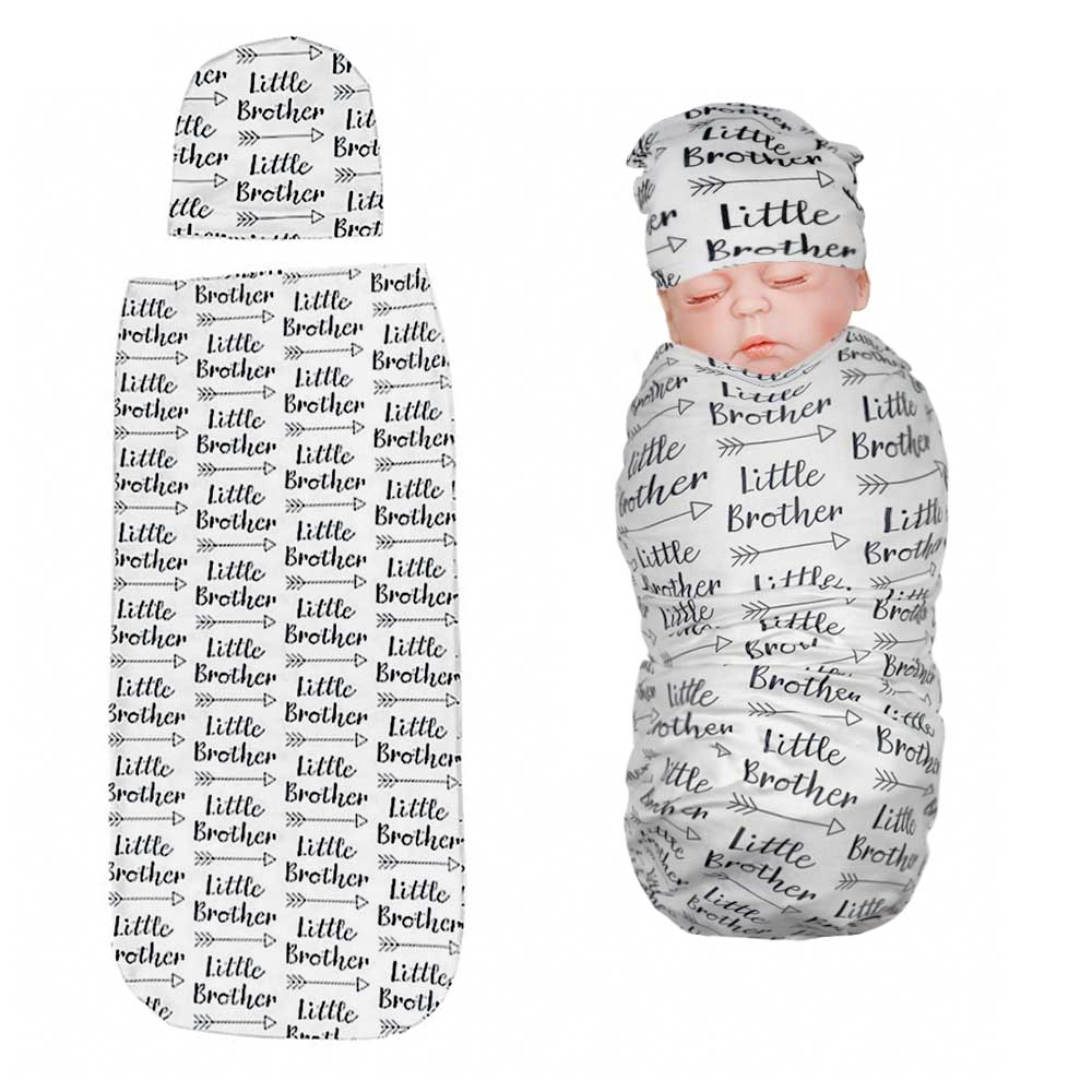 Newborn Swaddle Sack with Baby Hat Little Brother Sleeping