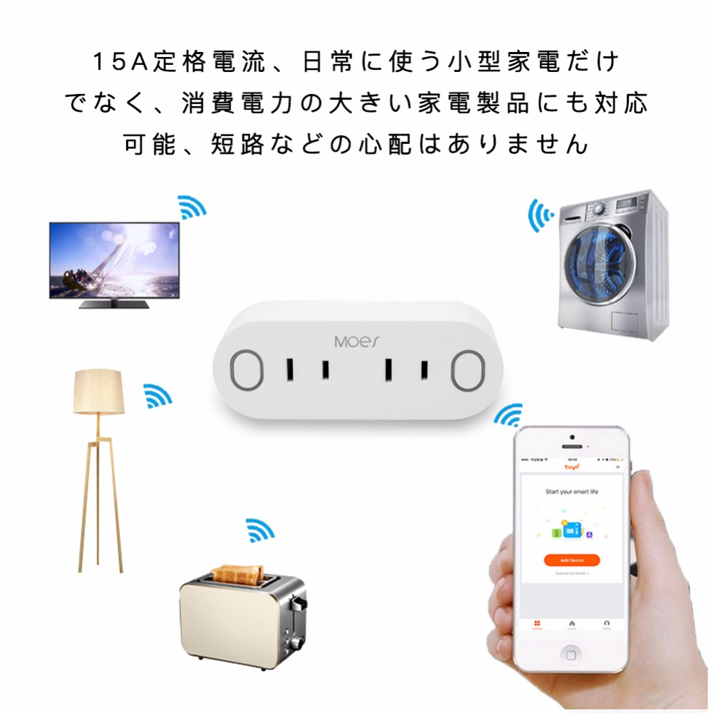 JP Dual Wifi Smart Socket Power Japan Plug Energy Monitor Remote Control Work with Amazon Alexa Google Home PSE listed in Home Automation Modules from Consumer Electronics