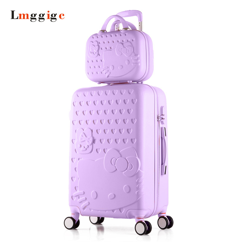 Hello Kitty Luggage Set,ABS Suitcase Carry-Ons bag,Universal Wheel Spinner Travel Box,Rolling Trolley Hardcase Lightweight Case universal uheels trolley travel suitcase double shoulder backpack bag with rolling multilayer school bag commercial luggage