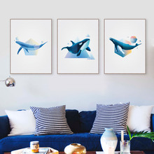 Abstract Ocean Animal Shape 3D Whale Canvas Poster Prints Large Wall Art Paintings No Frame Modern Nordic Living Room Home Decor
