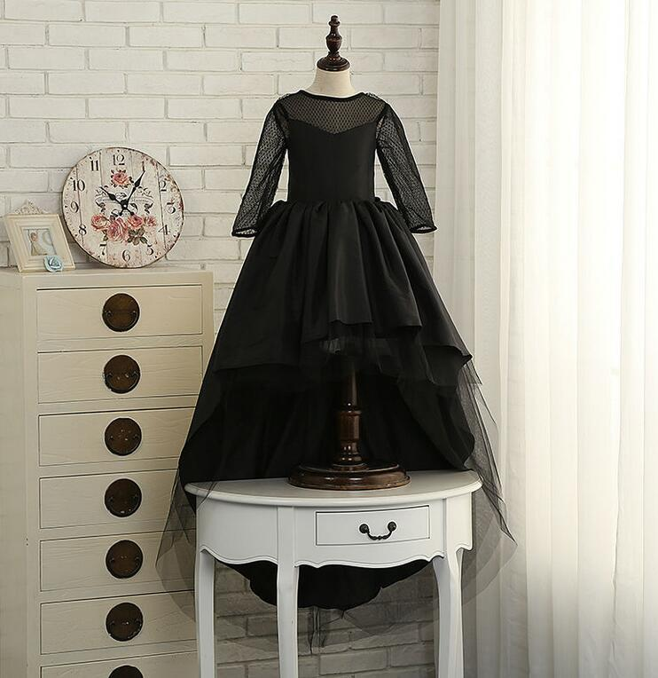 2018 Glizt Black Flower Girl Dresses High Low Scoop Long Sleeves Satin Tulle Bead Ball Gown Kids Wedding Party Dresses burgundy zip design scoop neck long sleeves top