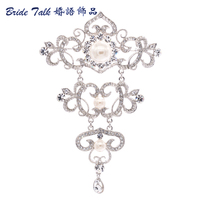 Silver Tone Long Flower Brooch Pins Austrian Crystal Fashion Pearl Brooches For Wedding European Palace Style