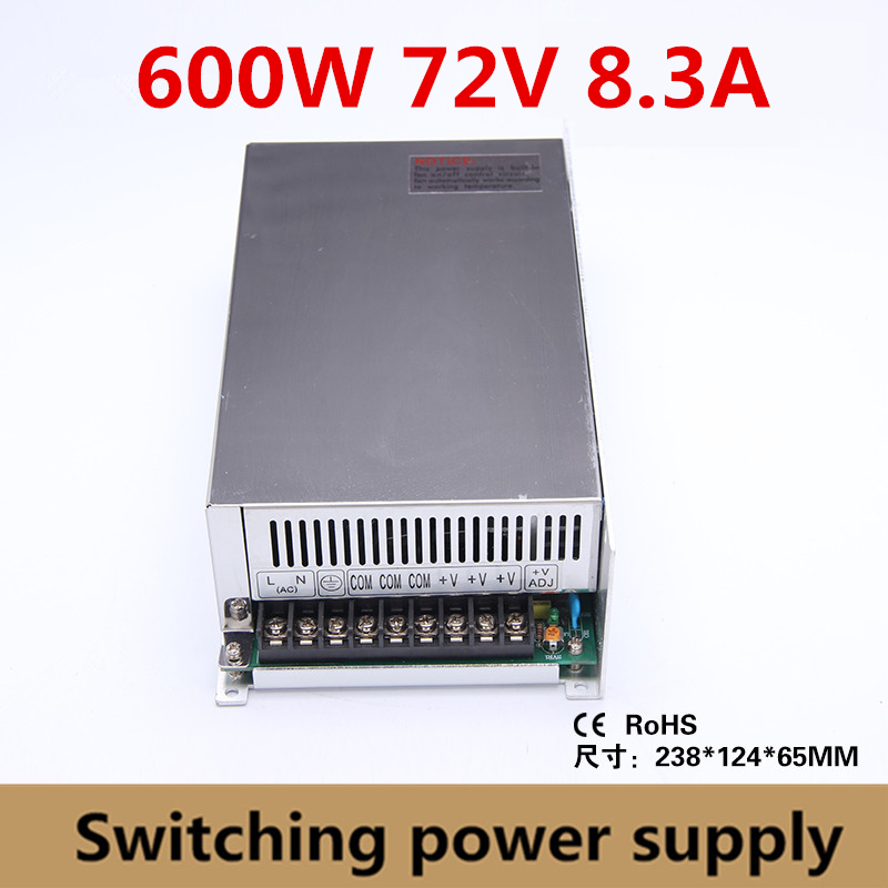 600W 72v 8.3A Switching Power Supply Driver Adapter 72vdc Voltage Transformer for Led Strip Light, industry input 110V/220V 20pcs 12w led light panel smd 5730 ic driver pcb input voltage ac110v 130v needn t driver aluminum plate free shippping