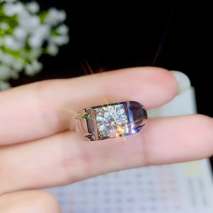 Moissanite Men's Rings,2 Carats Gemstone, Beautiful Color, D Color, VVS.