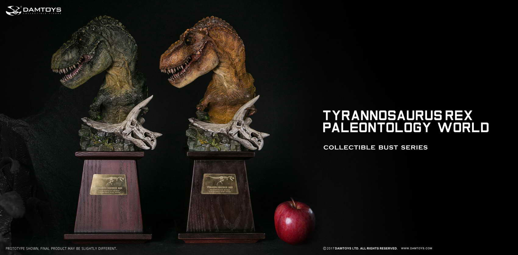 DAMTOYS Museum Series MUS001A / MUS001B Tyrannosaurus T-Rex Bust PolyStone Collection Statues