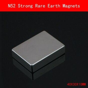 1 Uds 40X30X10mm N52 imán de tierras raras súper fuerte imanes de níquel de chapado permanente N52 40mm * 30mm * 10mm
