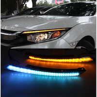 2x LED Headlight Eyebrow Trim Lamp DRL Driving Turn Signal White Amber For Honda Civic 10th 2017 2017 2018