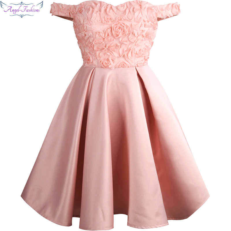 Angel-fashions Off the Shoulder   Prom     Dress   Flowers Lace Up Ball Gown Pink 358