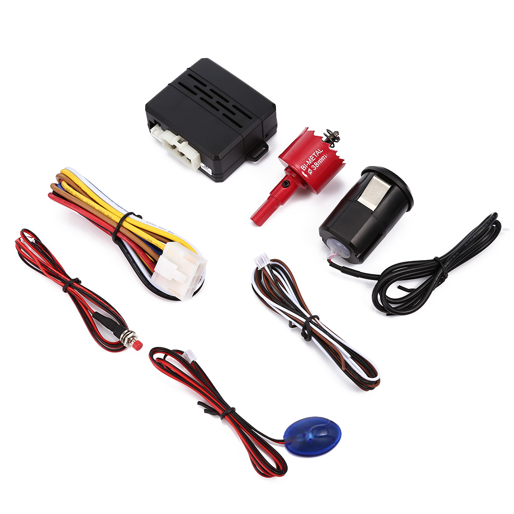 12V Universal Car Alarm System Fingerprint Start-up Auto Anti-theft Device One-way Security Burglar Alarm Kit Car Styling 5mA
