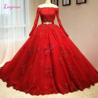 Real 2019 Delicate Red Ball Gown Quinceanera Dresses Off Shoulder Long Sleeves Tulle Hole Back Corset Pink Sweet 16 Dresses