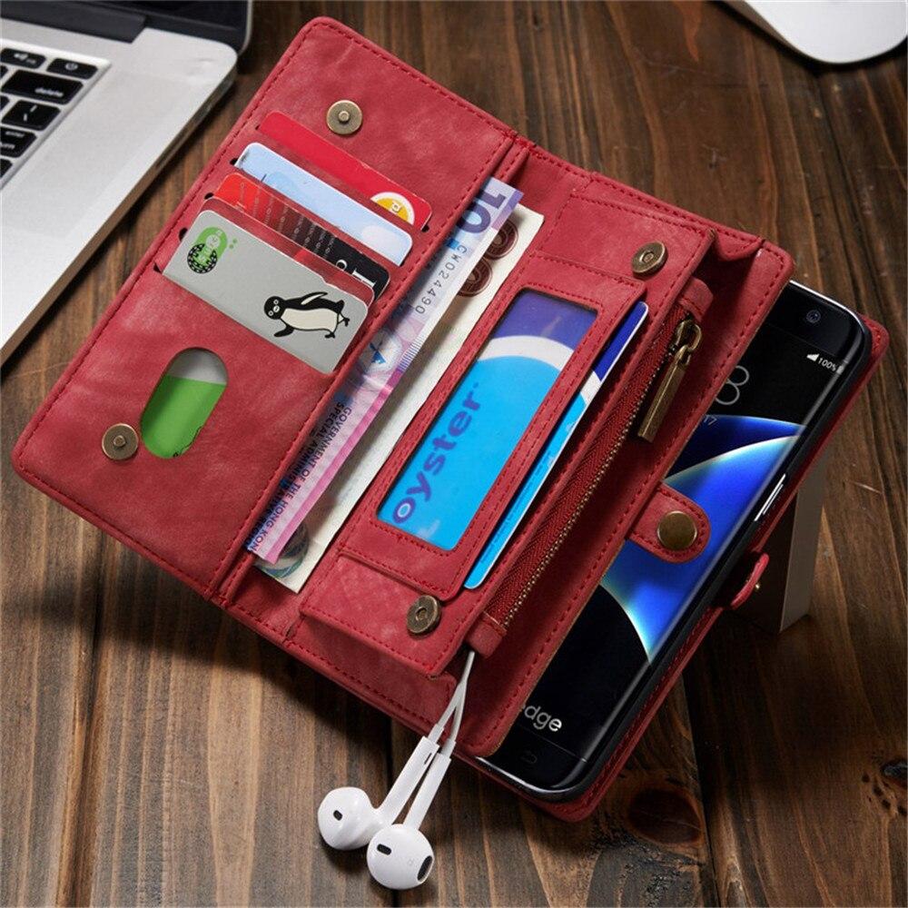 imágenes para Funda Cartera de cuero para Samsung Galaxy Plus S7 S8 Borde de La Moda Retro Flip Teléfono Cubierta de la Bolsa para el iphone 6 6 S 7 Más Soporte De La Tarjeta