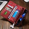 Leather wallet case para samsung galaxy s7 edge retro flip moda teléfono cubierta de la bolsa para iphone 6 6 s plus 7 plus con titular de la tarjeta