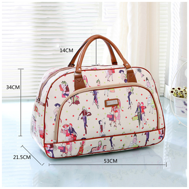 1ef94a3f2eec Womens Travel Bags 2018 Fashion Pu Leather Large Capacity Waterproof Print  Luggage Duffle Bag Casual Travel Bag Duffle Bolsa-in Travel Bags from  Luggage ...