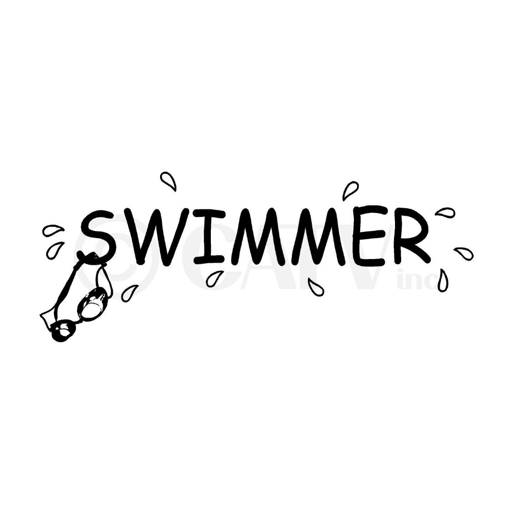 Swimmer Wall Decal Water Sport Swim Swimmer Lettering Mural Wall Sticker Kids Room Bedroom Swimming Pool Home Decoration