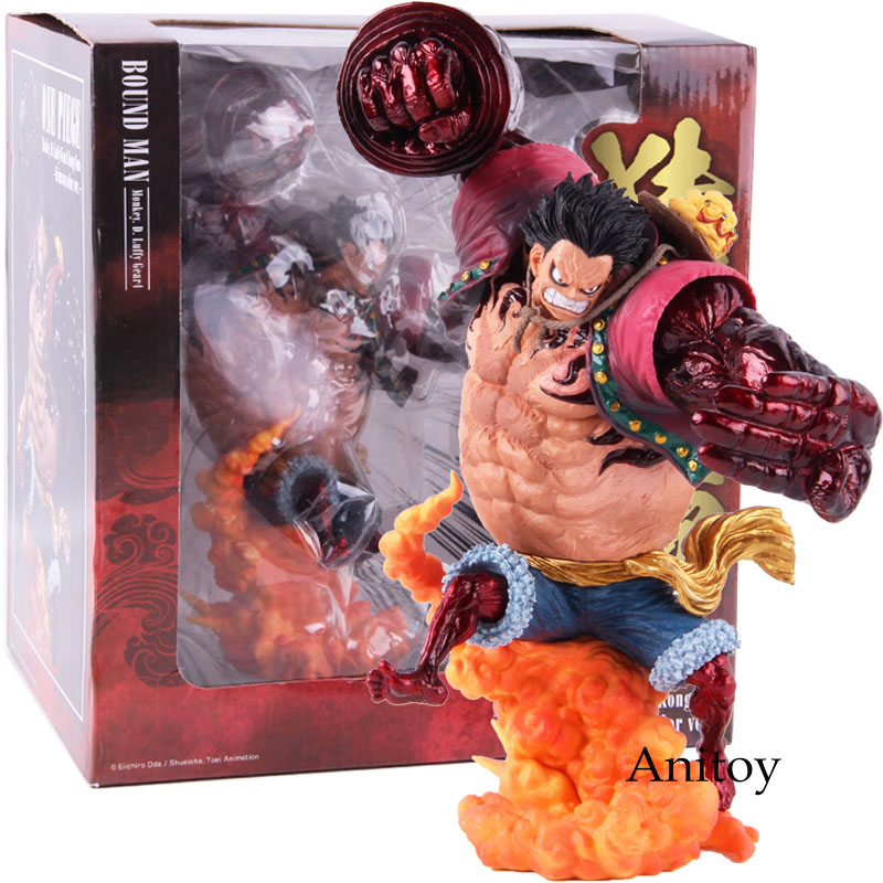 Anime One Piece Luffy Bound Man Monkey D Luffy Gear 4 Kong Gun Grimson Color Ver. PVC Action Figure Collectible Model Toy