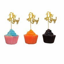 10pcs Gold Glitter Baby 1st Birthday Decor Oh Cupcake Topper Boy Shower Wild One Gender Reveal Cake