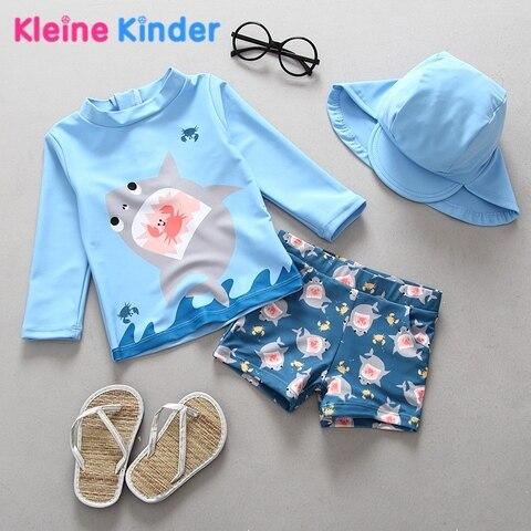 upf50 roupa de banho criancas menino de duas pecas fatos de banho separados tubarao azul