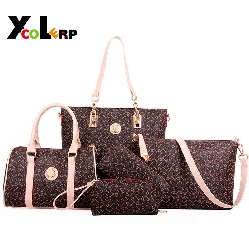 5 PCS/Set Composite Bag Women Handbags Crocodile Pattern Women Messenger Bags Shoulder Handbag Purse Wallet Leather Bag Blosa