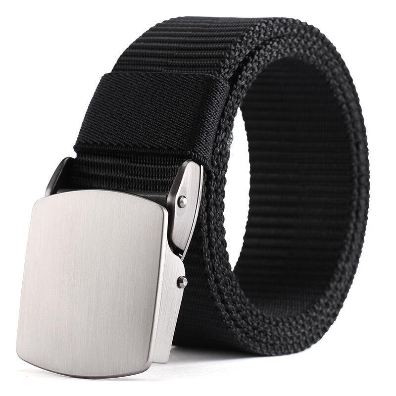 High QualityFashion Male Black Nylon Belt Outdoor Metal Automatic Buckle Canvas Belts Casual Pants Cool Wild Luxury Waist Belts