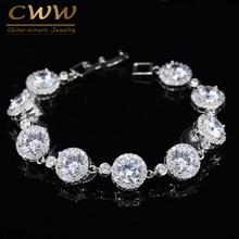 CWWZircons великолепное очарование AAA кубический цирконий роскошные микро CZ браслеты серебряного цвета женские свадебные украшения подарок CB096