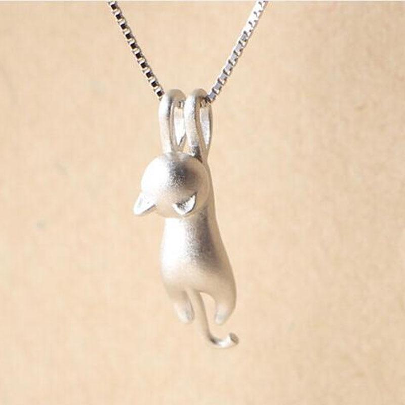 yu xin yuan 925 fashion Silver jewelry Cute cat wire hanging jewelry pendants necklace for women/men +chain