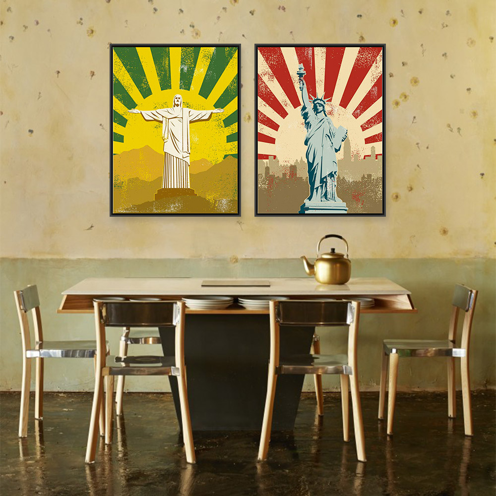 Modern Abstract Jesus Christ Statue Liberty Vintage Retro Canvas ...