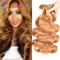 Mslynn honey blonde onda del cuerpo del pelo virginal peruano 3 paquetes, onda del cuerpo peruano rubio bundles mojado y ondulado humano paquetes de pelo