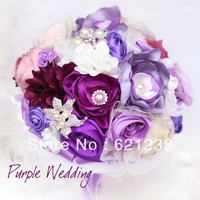 EMS Free Shipping,Purple & White Wedding Bride holding flowers customized jewelry Korean lace fabric flower bridesmaid bouquets