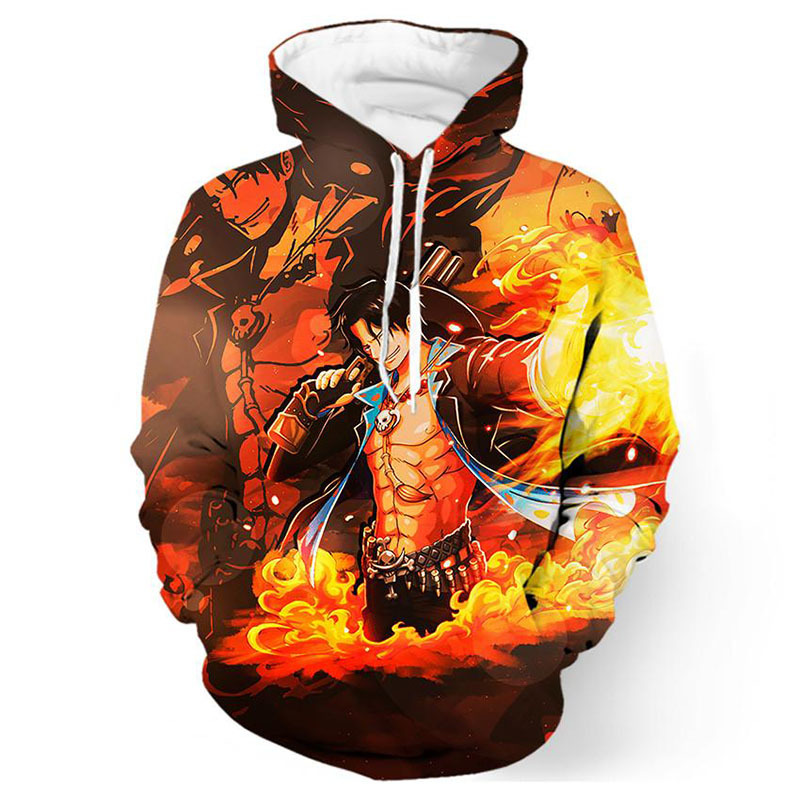 One Piece Hoodies Japanese Anime Monkey D Luffy & Portgas D Ace 3d Printing Man Women Hooded Pullovers Free Shipping 100% Original Hoodies & Sweatshirts