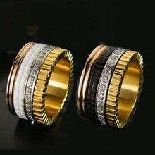 Горячие продажа черный белый керамические передач с crystal cz titanium стальные кольца