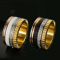 Hot Sale Black White Ceramic Gear With Crystal CZ Titanium Steel Rings