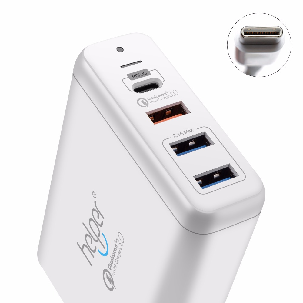 USB Type-C PD Charger 75W 4-Ports USB-C PD Quick Charge 3.0 Smart Desktop Charger with Power Delivery for XiaoMi Air DELL XPS usb c charger power delivery qc 3 0 type c pd 3 port fast charger for new macbook samsung hp dell acer asus l