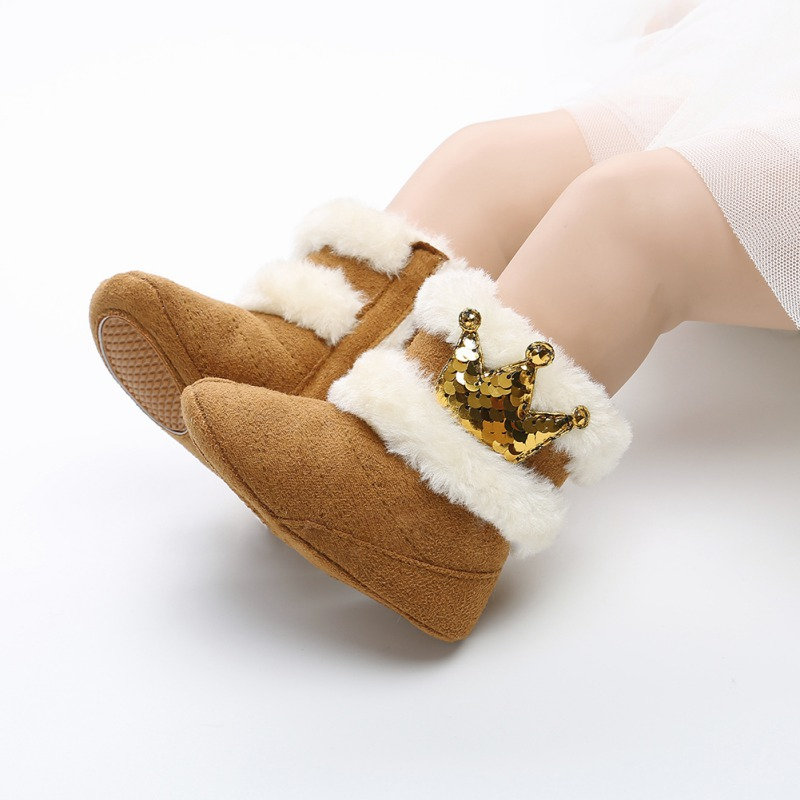 2018 Fashion Newborn Infant Baby Girls Winter Warm Casual Boots Crown Fur Mid-Calf Length Slip-On Furry Baby Shoes 0-18M Bebes R
