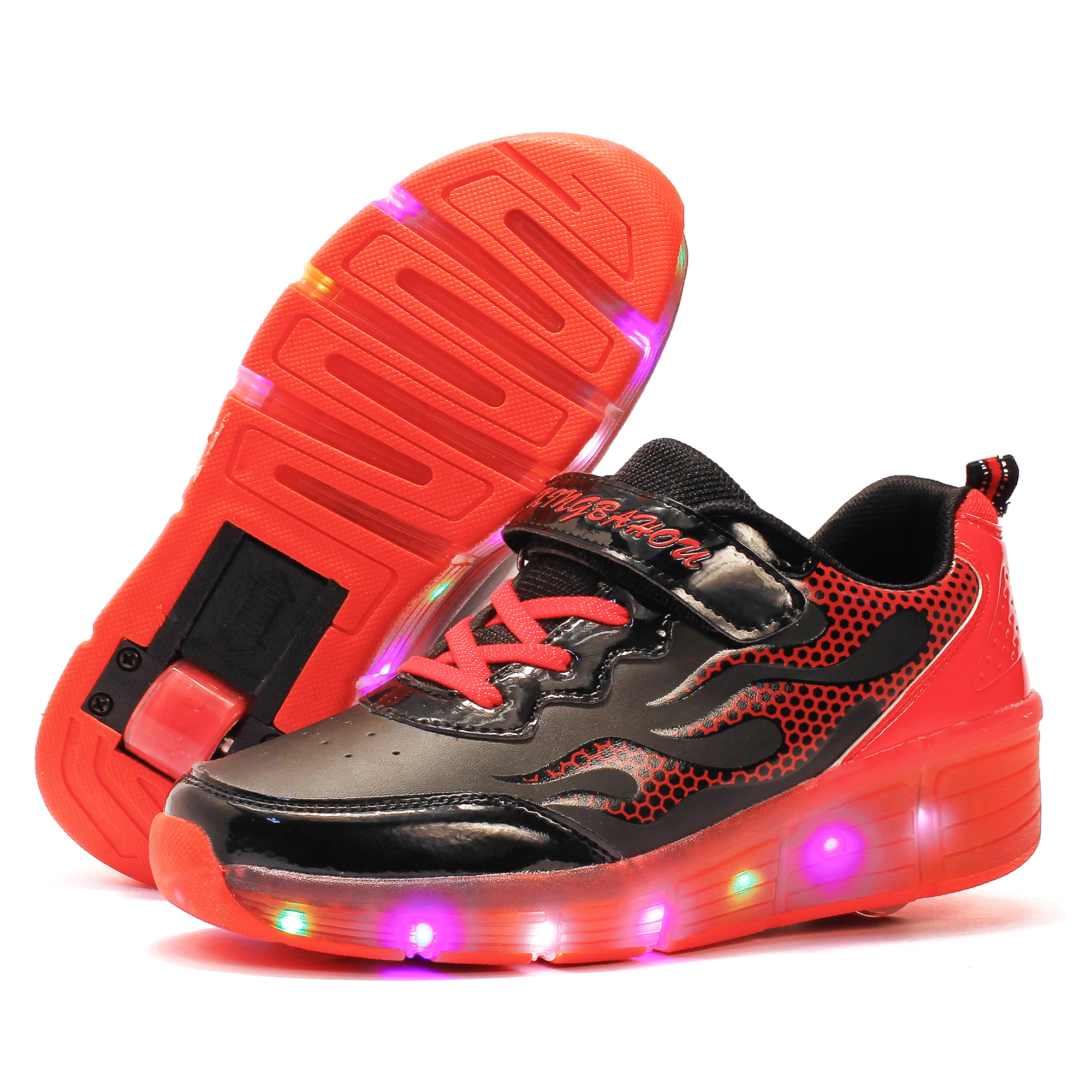 Colorful LED Flashing Roller Skate Shoes Flashing LED Roller Shoes Luminous Sneakers Boy Girl Light Up Shoes children roller sneaker with one wheel led lighted flashing roller skates kids boy girl shoes zapatillas con ruedas