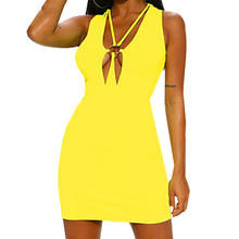цены на Summer Clothes for Women Sexy Deep V-neck Sleeveless Slim Dress Casual Hollow Out Bodycon Dress Femme Night Club Party Vestidos в интернет-магазинах