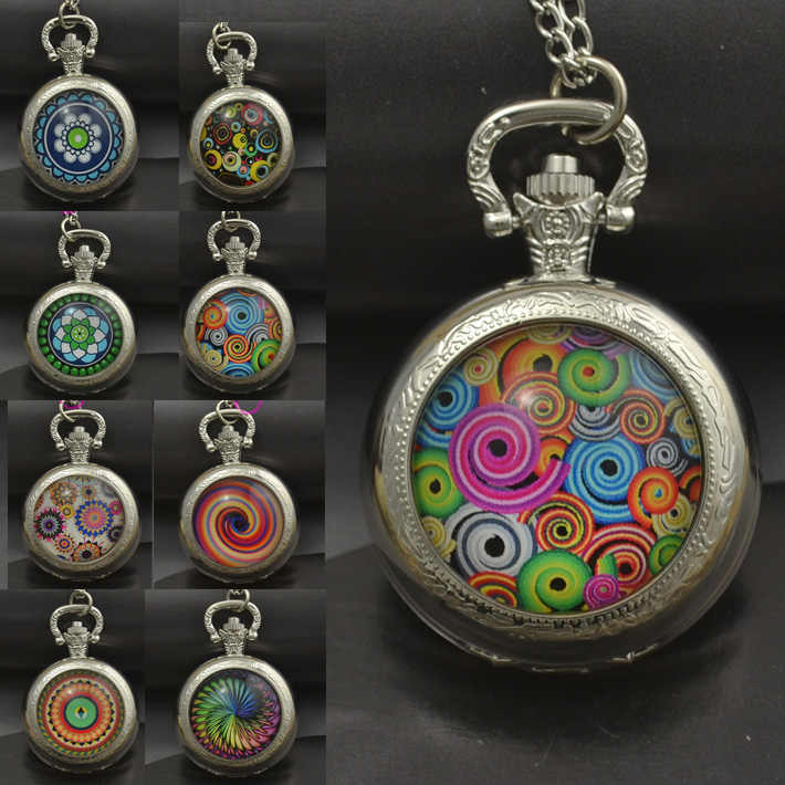 fashion quartz colorful parttern pocket watch necklace woman black silver round convex lens glass picture funnyt gift 2016 new
