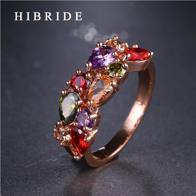 תכשיטי HIBRIDE AAA ססגוניות מעוקב טבעת זירקוניה בסגנון קלאסי רוז צבע זהב מונה ליזה טבעת מתנות לנשים QSP0010-16