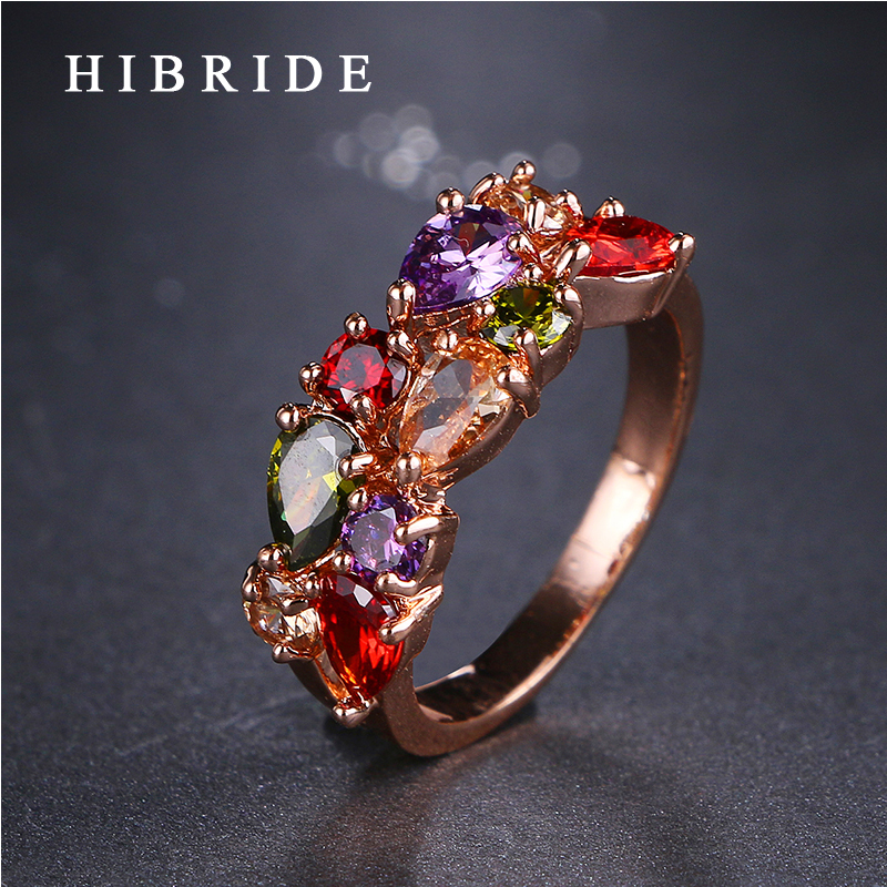 HIBRIDE smykker AAA Multicolor Cubic Zirconia Ring Klassisk stil Rose - Mote smykker