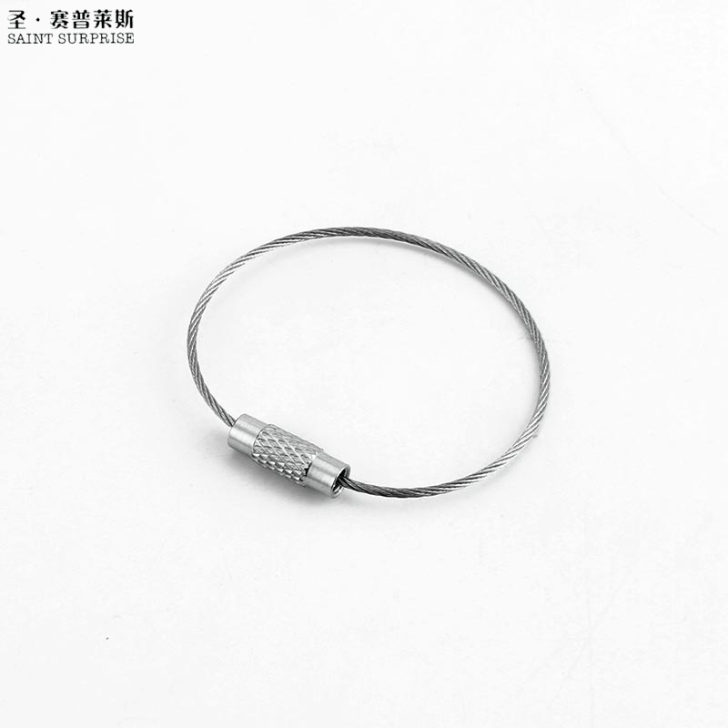 EDC wire outdoor key Stainless steel keyring keychain ring lock gadget circle rope cable loop tag
