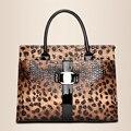 Россия моды роскошь леопарда женские сумки PU кожи женщин сумка известного бренда сумки для дам среднего возраста