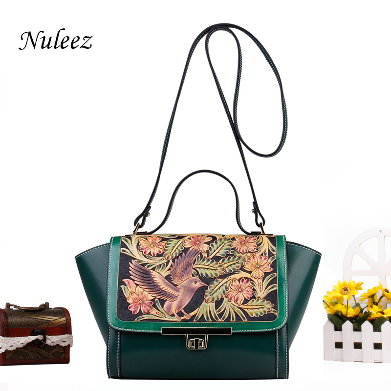 Nuleez genuine cowhide leather cross-body bag women Hand-carved birds and floral delicate and luxury Chinese national style 2018Nuleez genuine cowhide leather cross-body bag women Hand-carved birds and floral delicate and luxury Chinese national style 2018